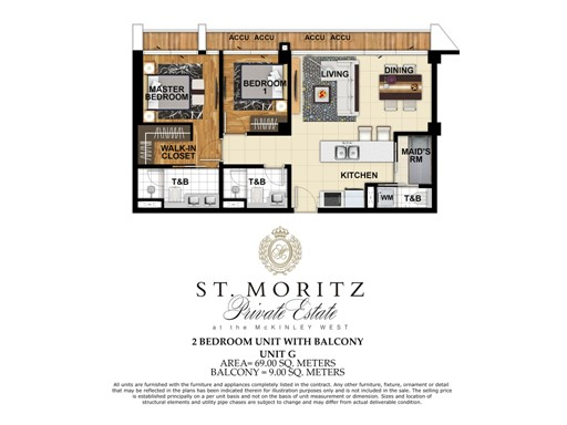 78 Square-Meter Two-Bedroom Unit